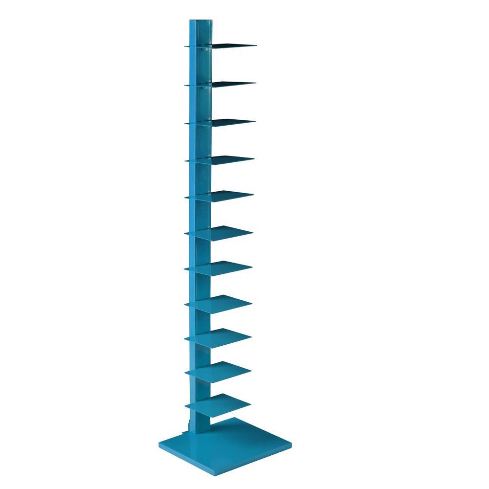 Corbyn 65.25 in. H x 15.75 in. W Bright Cyan Blue Spine Tower Shelf