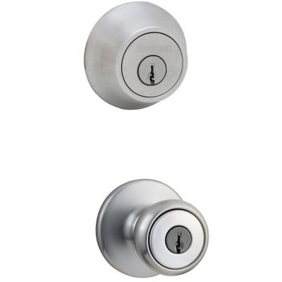 Tylo Satin Chrome Exterior Entry Door Knob and Single Cylinder Deadbolt Combo Pack