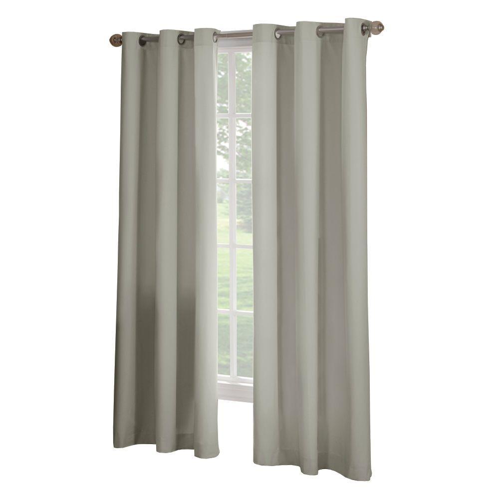Semi-Opaque Linen Microfiber Grommet Curtain - 63 in. L x 42 in. W (1 Panel)