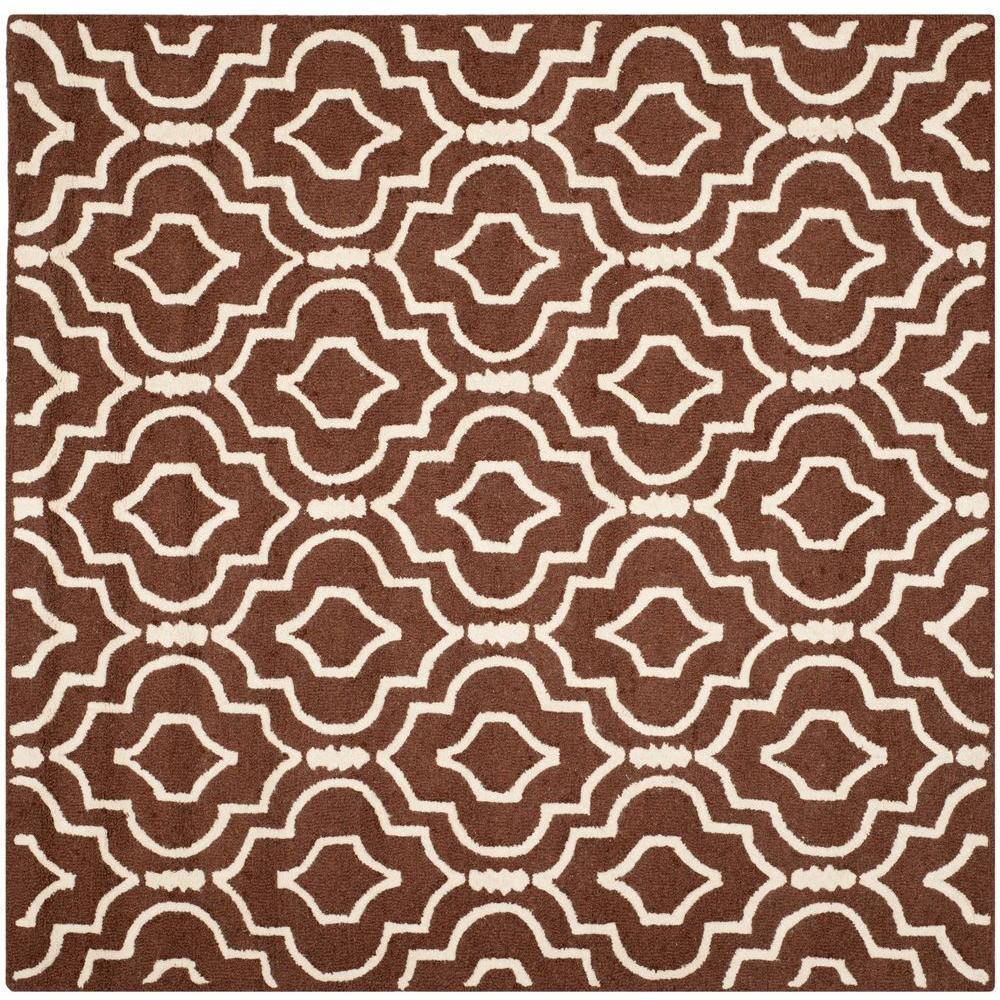 Safavieh Cambridge Dark Brown/Ivory 6 ft. x 6 ft. Square Area Rug
