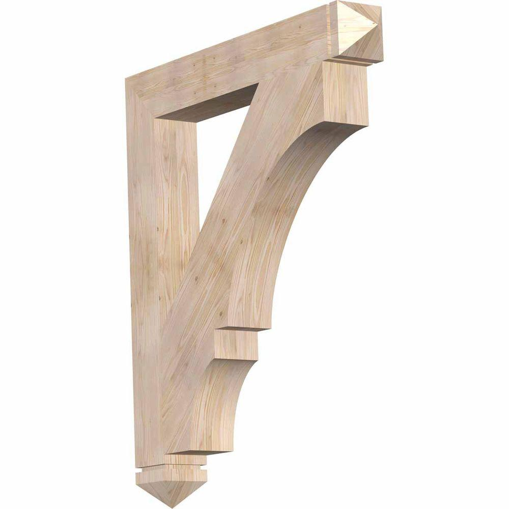 Ekena Millwork 5.5 in. x 48 in. x 42 in. Douglas Fir Balboa Arts and Crafts Smooth Bracket
