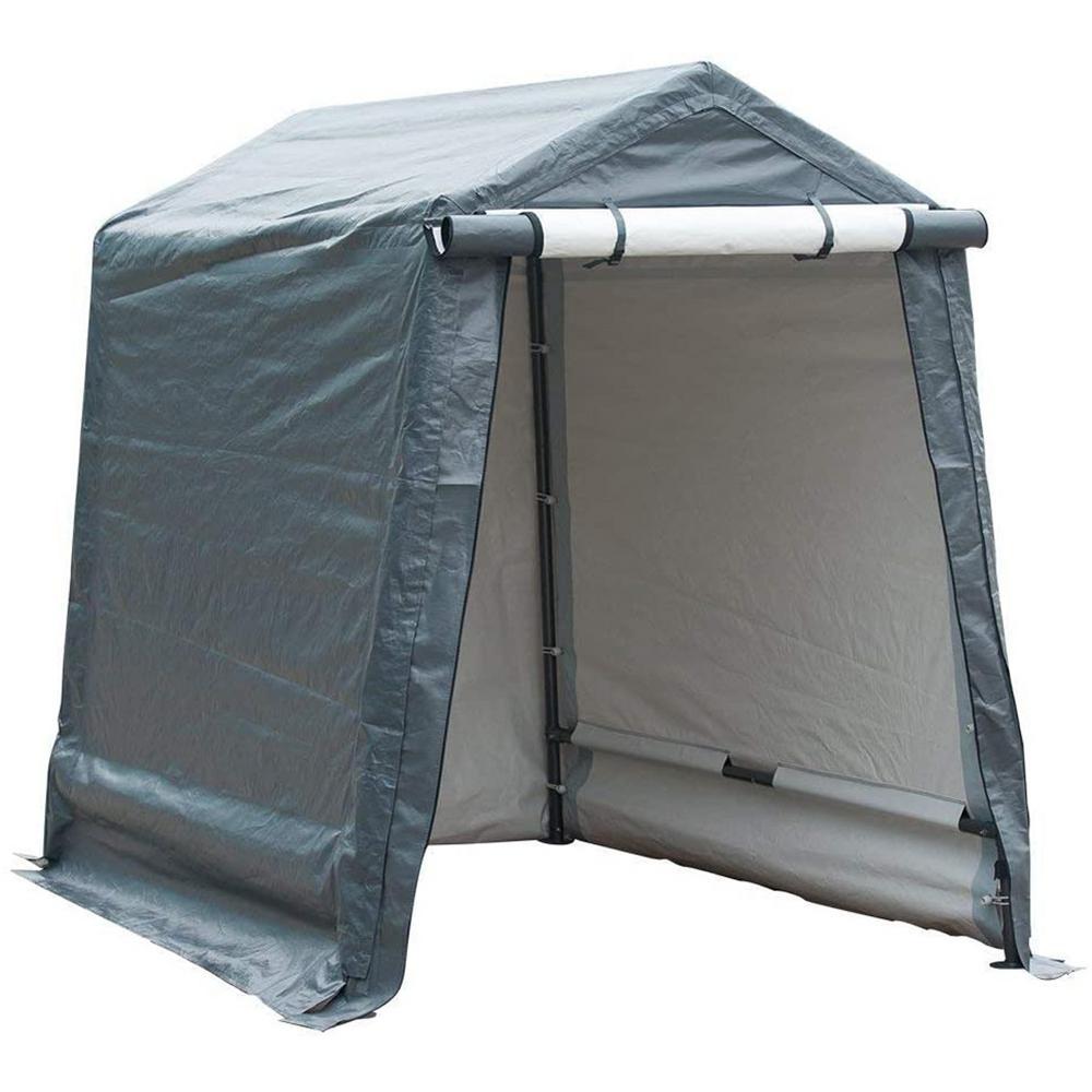 8 ft. x 6 ft. x 7 ft. Grey Roof Steel Carport