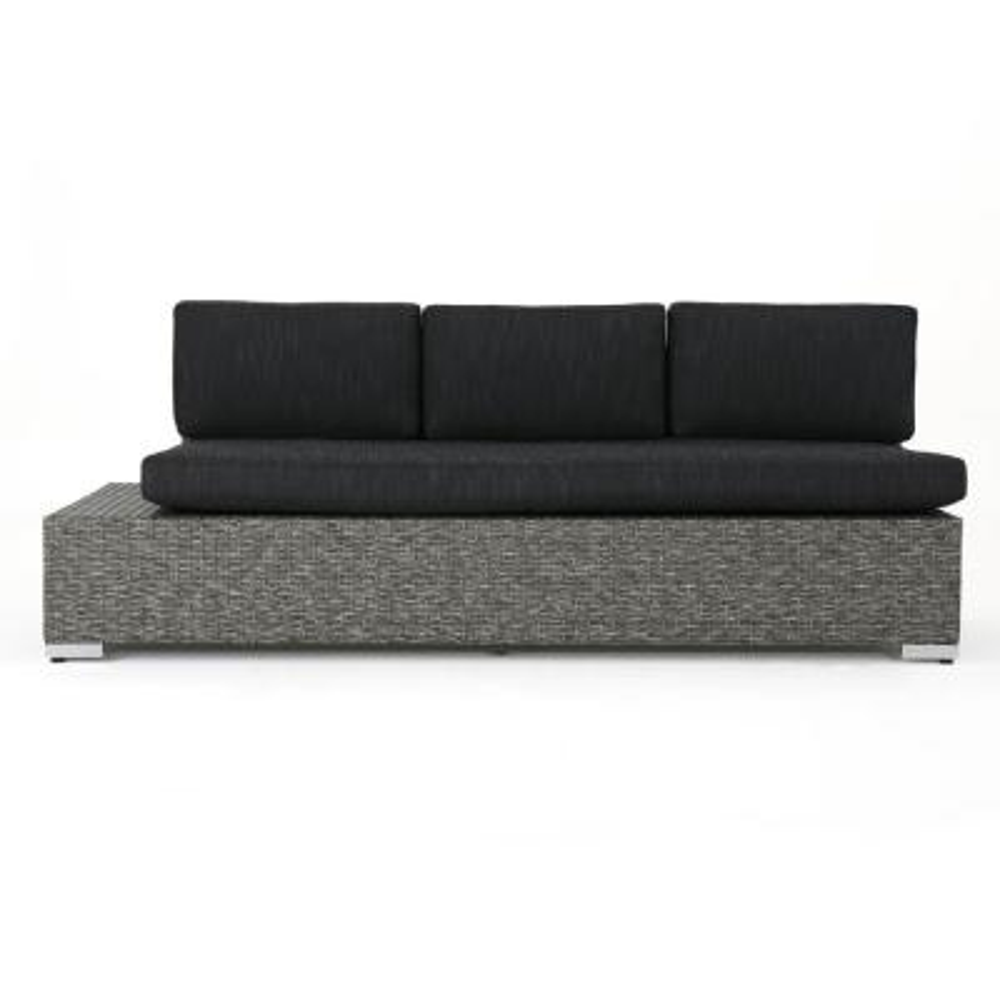 Puerta Mixed Black Wicker Outdoor Sofa with Dark Gray Cushions