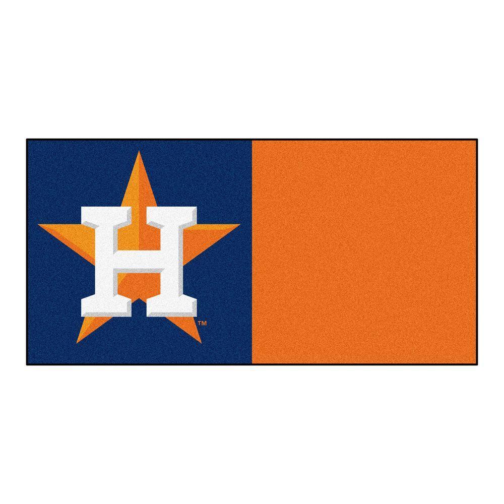 MLB - Houston Astros Orange and Blue Nylon 18 in. x 18 in. Carpet Tile (20 Tiles/Case)