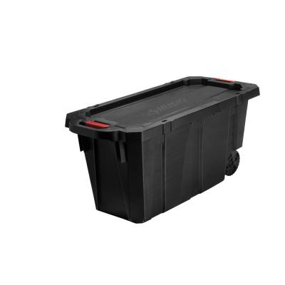 45 Gal. Latch and Stack Tote with Wheels in Black