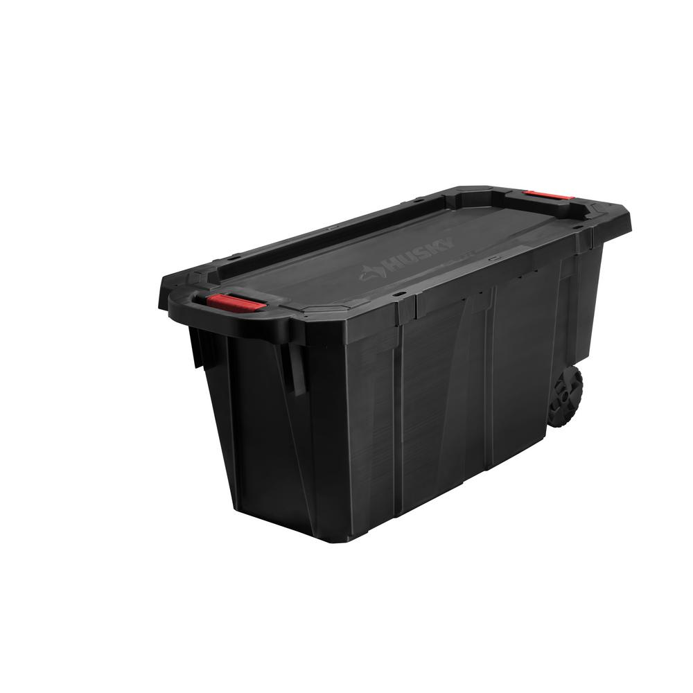 Husky 45 Gal Latch and Stack Tote with Wheels in Black 206133 The