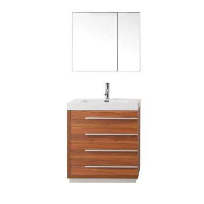 Bailey 30 in. W Bath Vanity in Plum with Vanity Top in White with Square Basin and Mirror and Faucet
