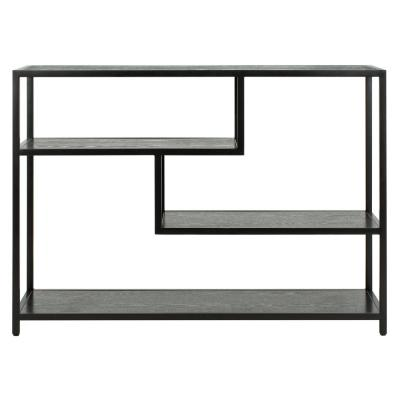 Reese 42 in. Black Standard Rectangle Wood Console Table with Storage