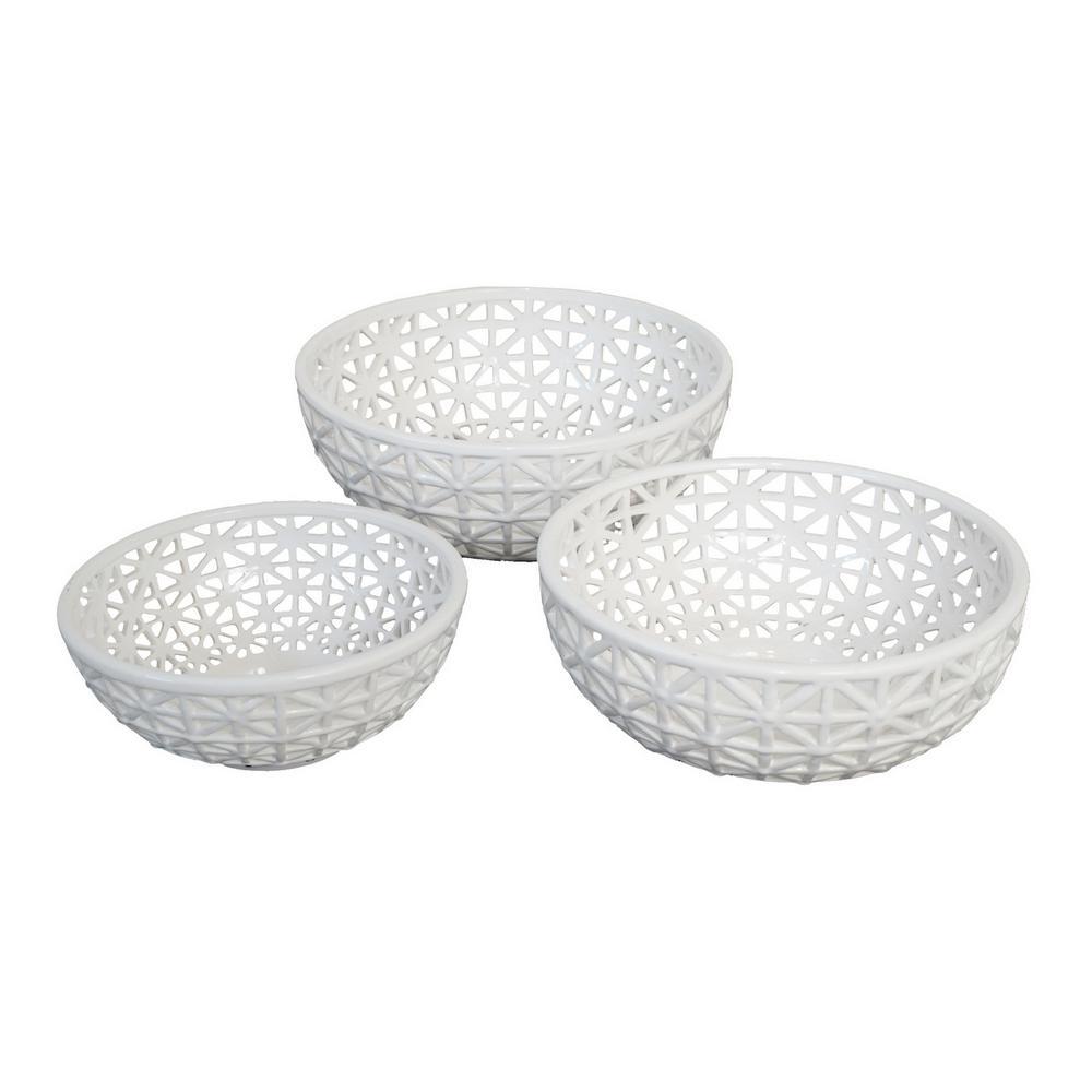 14 in. Ceramic/Pierced Bowl (Set of 3)