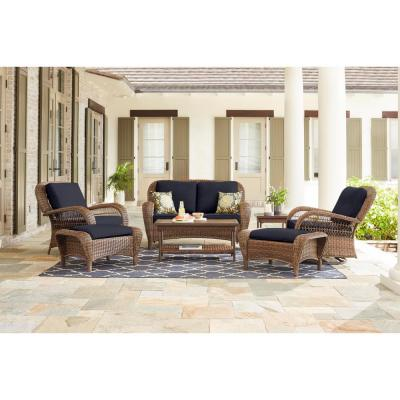 Beacon Park Brown Wicker Outdoor Patio Loveseat with CushionGuard Midnight Navy Blue Cushions