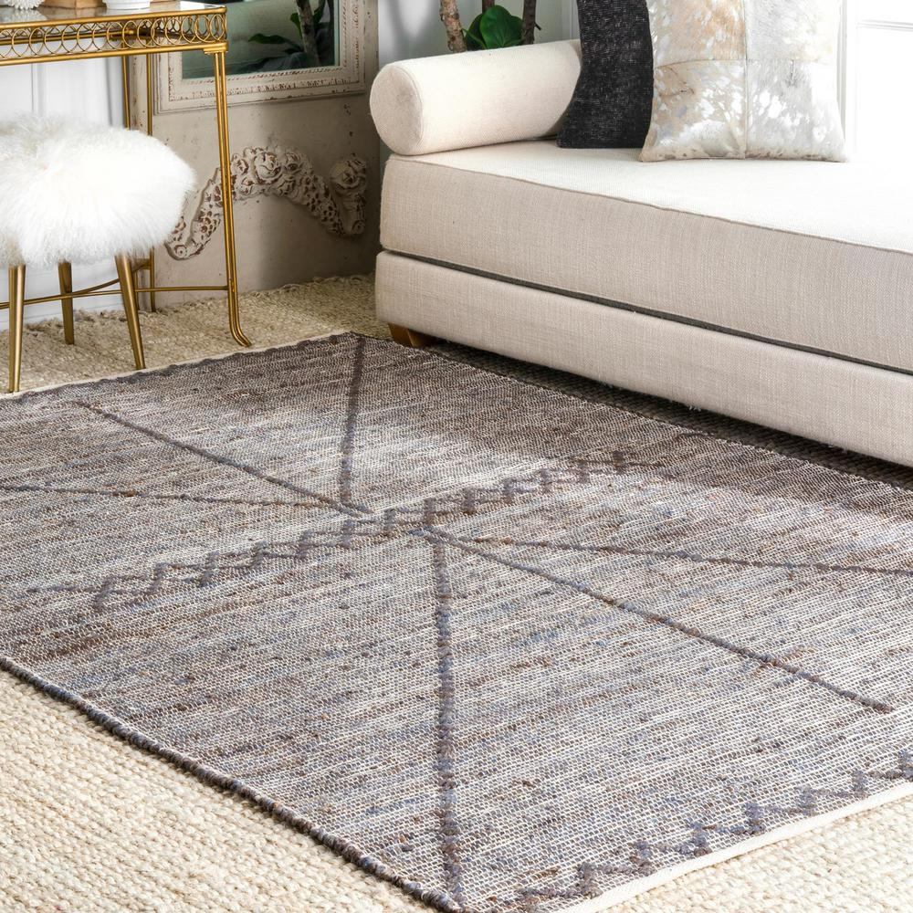 Super Nuloom Lekisha Tribal Jute Gray 8 Ft X 10 Ft Area Rug Pabps2019 Chair Design Images Pabps2019Com