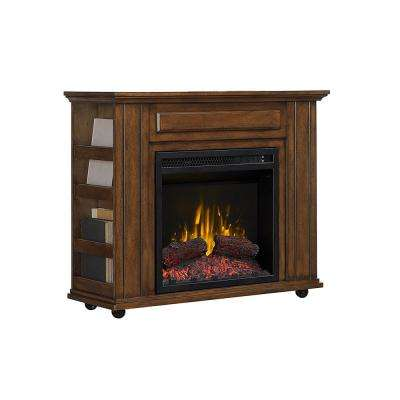 Denilib 31 in. Electric Fireplace TV Stand in Brown Walnut