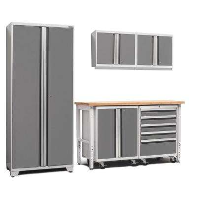 Pro 3 Series 85 in. H x 102 in. W x 24 in. D 18-Gauge Cabinet Set in Platinum With Workbench and Casters (6-Piece)