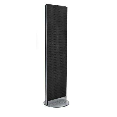 60 in. H x 16 in. W 2- Sided Styrene Pegboard Floor Display on Revolving Base in Black