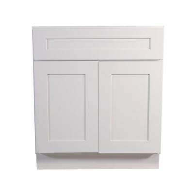 Brookings Ready to Assemble 30 x 34.5 x 24 in. Base Cabinet Style 2-Door with 1-Drawer in White
