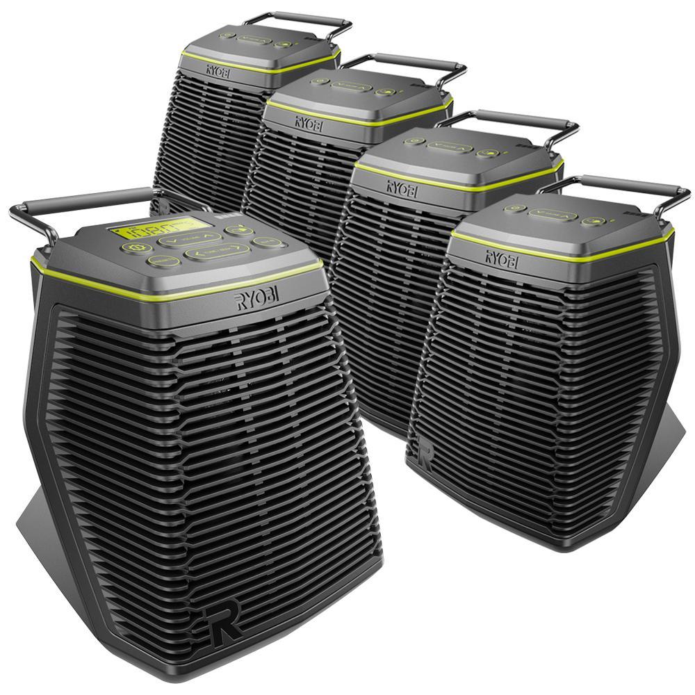 RYOBI 18-Volt ONE+ Hybrid Score 5-Piece Speaker Set with (1) Primary Wireless Speaker and (4) Secondary Wireless Speakers