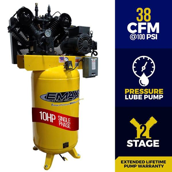 Industrial Series 80 Gal. 10 HP 1-Phase Electric Air Compressor with pressure lubricated pump