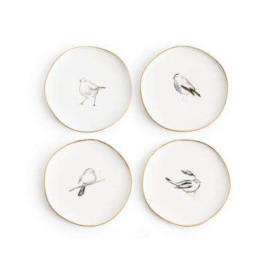 Pacifica White Birds Appetizer Plates (Set of 4)