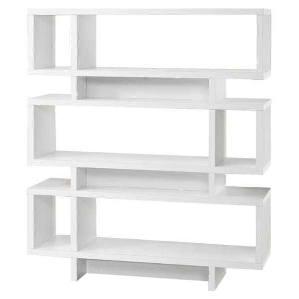 55 in. White with 6-Shelves Composite Bookcase