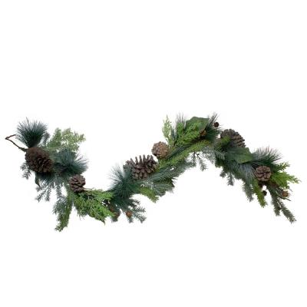 5 ft. Pine Cone and Cedar Unlit Artificial Christmas Garland