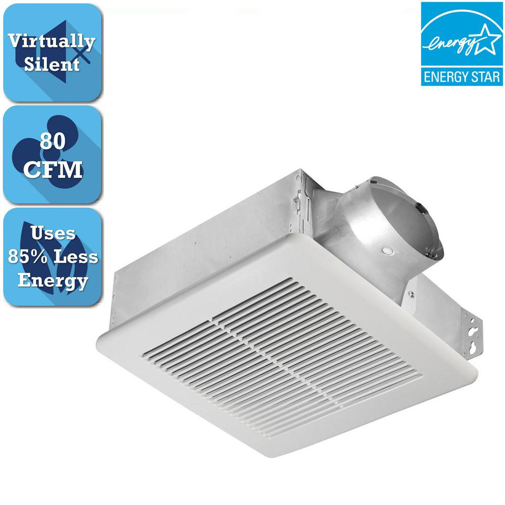 Delta Breez Slim Series 80 CFM Ceiling or Wall Bathroom Exhaust Fan, ENERGY STAR