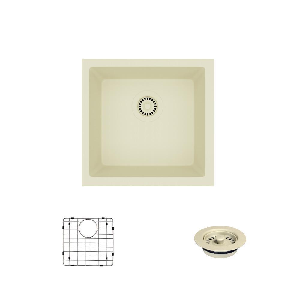 Dual-mount Composite Granite 17-3/4 in. Single Bowl Kitchen Sink in Ecru