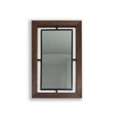 Dante 42in Metal and Wood Wall Mirror