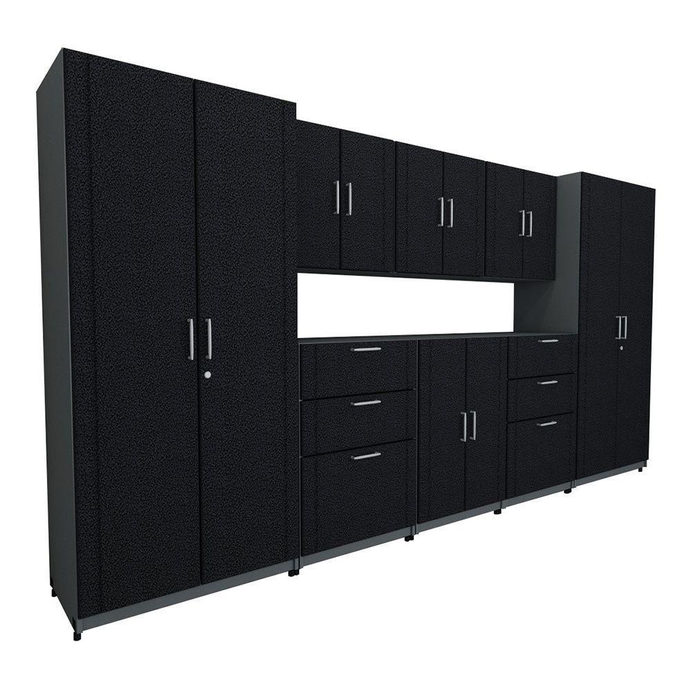 136 in. W x 73.25 in. H x 18.75 in. D Premium System in Black (8-Piece)