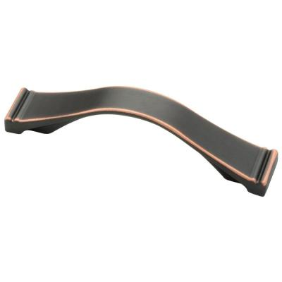 Channel 3 or 3-3/4 in. (76 or 96 mm) Center-to-Center Bronze with Copper Highlights Dual Mount Drawer Pull