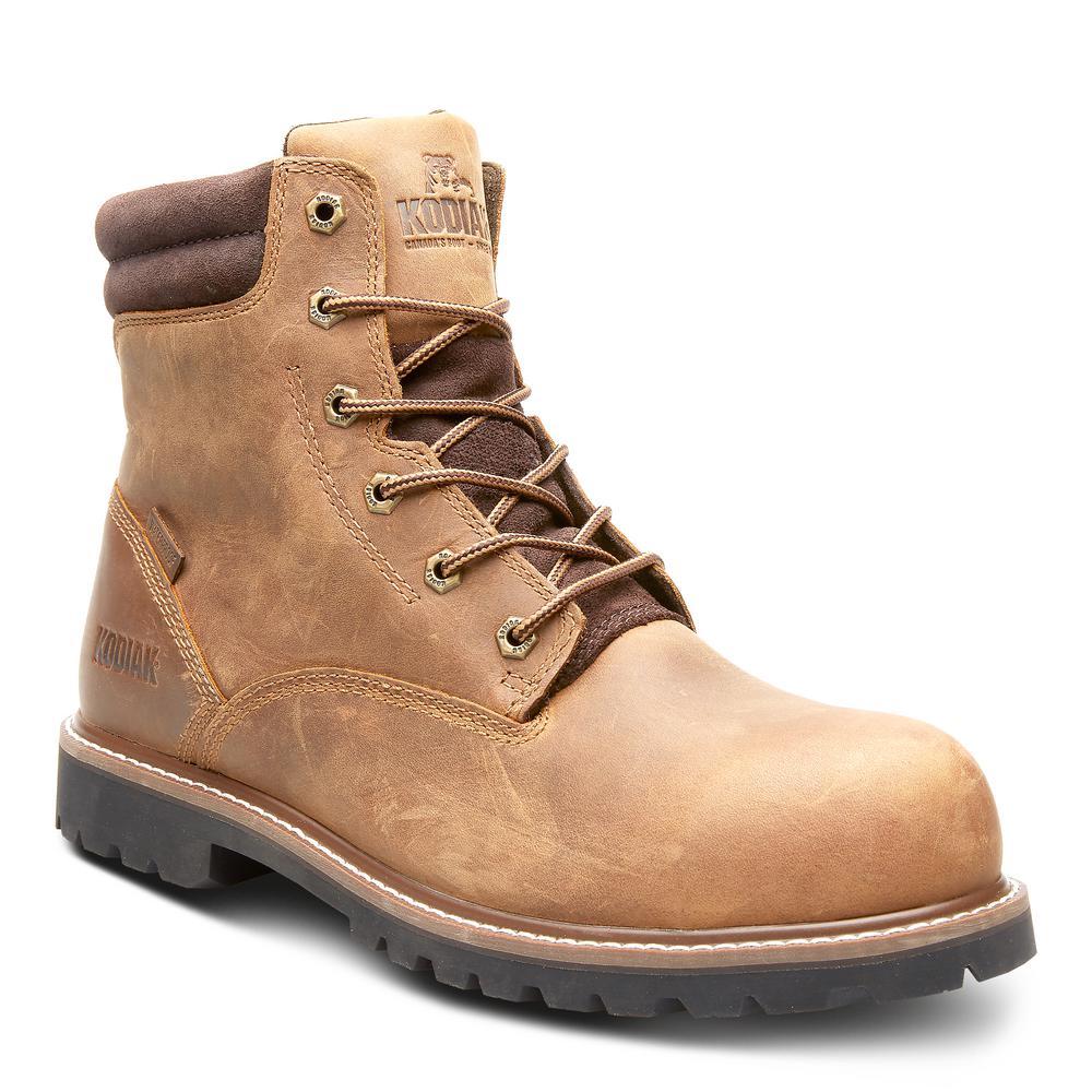 Kodiak Men S Mckinney Waterproof 6 Inch Work Boot Soft Toe Brown Size 13 W Kd0a4tdqbrn The Home Depot