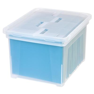 35 Qt. Hinged Lid File Storage Bin in Clear (6-Pack)