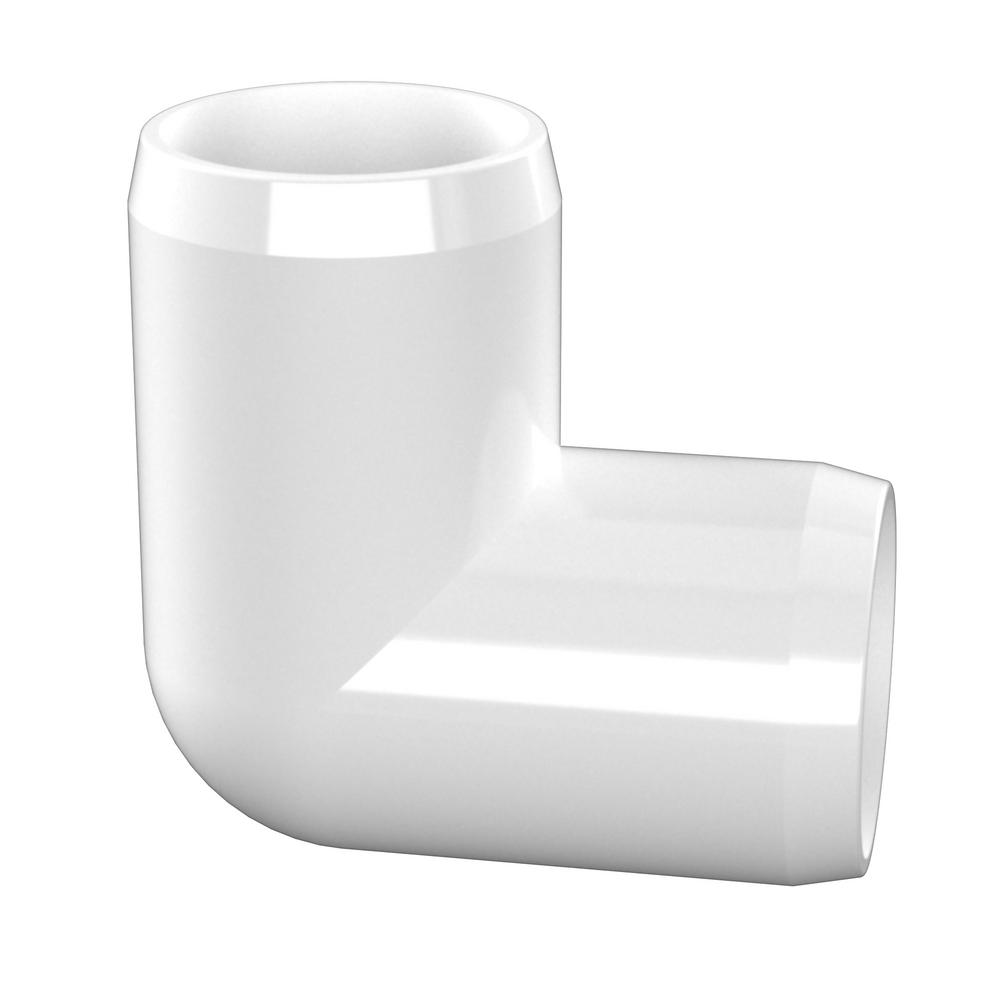 Furniture Grade FORMUFIT F01290E-WH-10 90 Degree Elbow PVC Fitting Pack of 10 White 1//2 Size