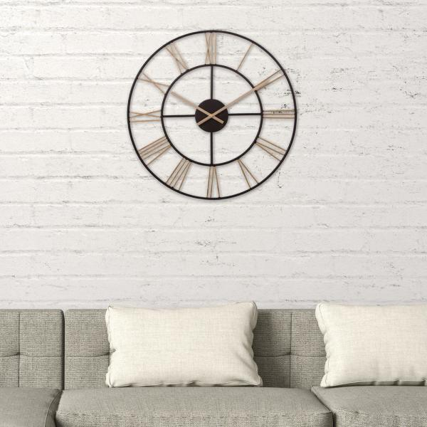 Cut Out Roman Numeral Black And Gold Wall Clock