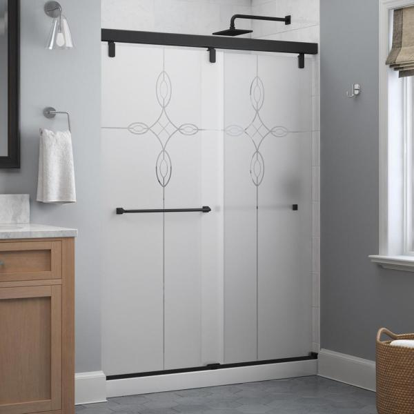 Everly 60 x 71-1/2 in. Frameless Mod Soft-Close Sliding Shower Door in Matte Black with 1/4 in. (6 mm) Tranquility Glass