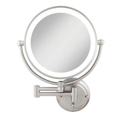 18 in. H x 14 in. W Hardwired Bi-View Wall Makeup Mirror Hardwired in Satin Nickel