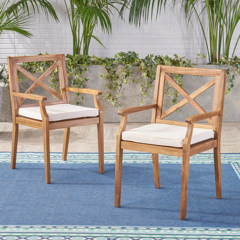 Noble House Perla Teak Brown Cross Back Wood Outdoor Dining Chairs with Cream Cushions (2-Pack)
