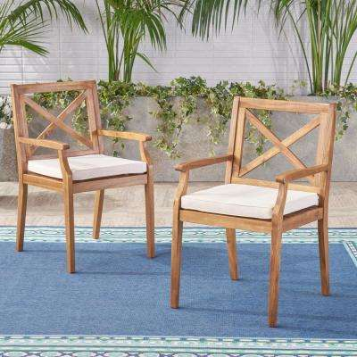 Perla Teak Brown Cross Back Wood Outdoor Dining Chairs with Cream Cushions (2-Pack)