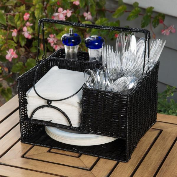 12 in. x 11 in. Black Rattan Tabletop Serveware and Condiment Organizer and Caddy