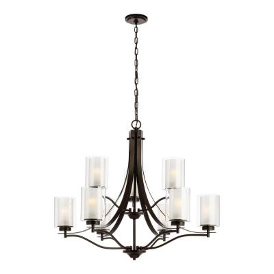 Elmwood 9-Light Heirloom Bronze Chandelier with Satin Etched Glass Shades