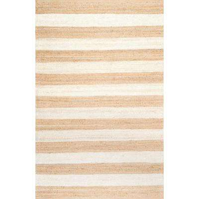Alisia Stripes Jute Bleached 5 ft. x 8 ft. Area Rug