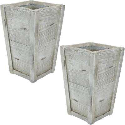 Manor 9 in. Fiber Clay Square Durable Indoor/Outdoor Use Planter Flower Pot (Set of 2)