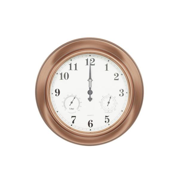 Indoor/Outdoor Copper 18'' Wall Clock with Waterproof Thermometer and Hygrometer