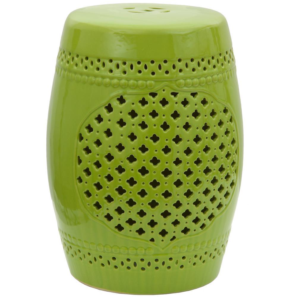 Oriental Furniture 18 in. Green Lattice Porcelain Garden Stool