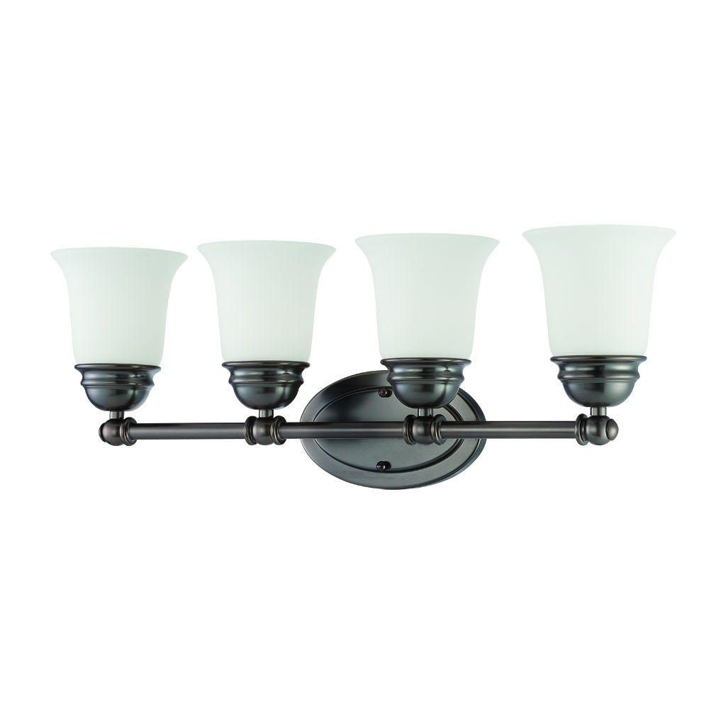 Thomas Lighting Bella 4-Light Oiled Bronze Bath Light with Etched Glass Shade