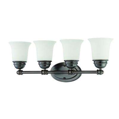 Bella 4-Light Oiled Bronze Bath Light with Etched Glass Shade