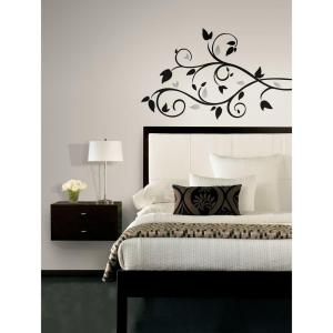 Scroll Branch Foil Leaves Peel And Stick Wall Decal Part 41