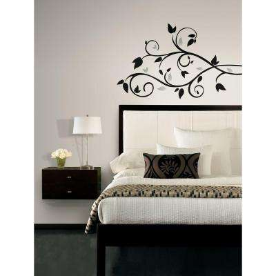 Scroll Branch Foil Leaves Peel and Stick Wall Decal