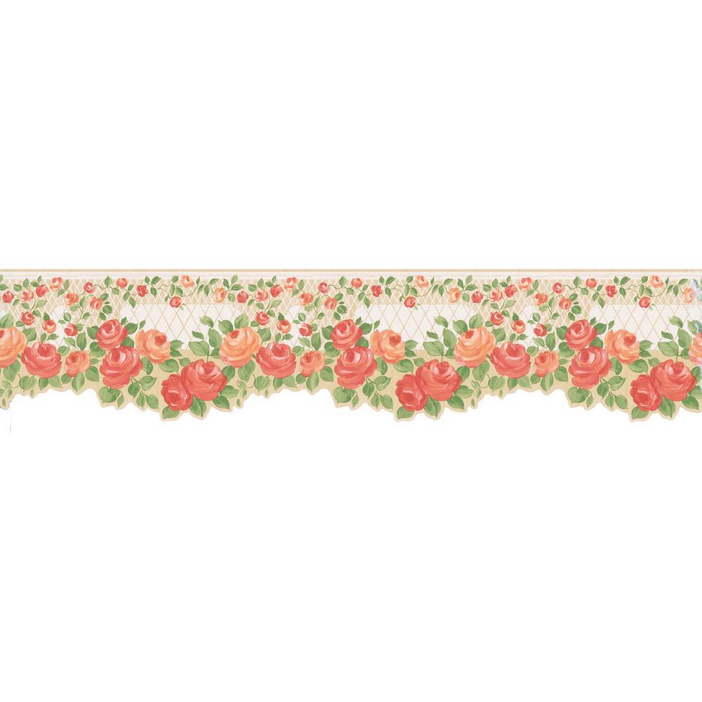 Floral Trellis Wallpaper Border 499 47007 The Home Depot