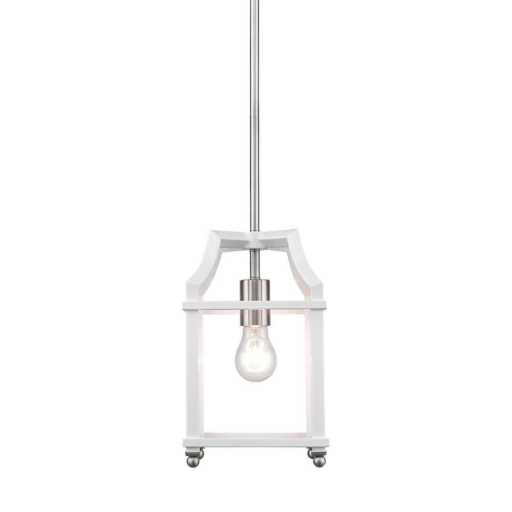 Leighton 1-Light Pewter and White Pendant Light