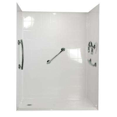 Freedom 33 in. x 60 in. x 77-3/4 in. Barrier Free Roll-In Shower Kit in White with Left Drain